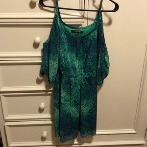 Green and blue printed cold shoulder dress